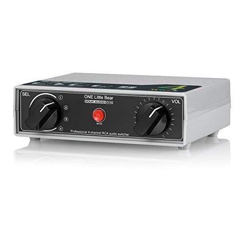 Conmutador analógico RCA estéreo de 4 vías, con interruptor manual