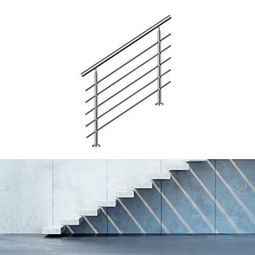 Hengda® Edelstahl Geländer Balkongeländer Wand Geländer Geländerpfosten | für Treppengeländer Boden Außen | Edelstahl Wandhalter (mit 2 Pfosten,120CM, 5 Querstreben)