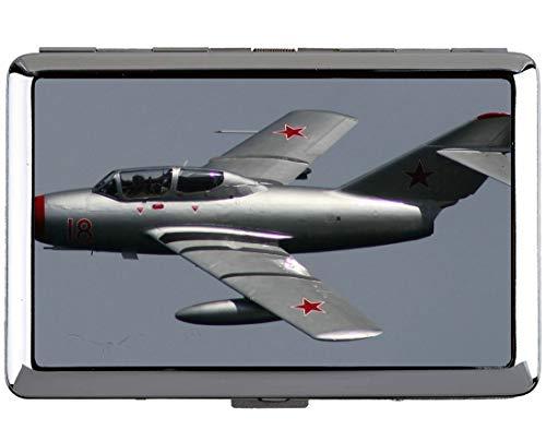 Silber Edelstahl Zigarettenetui, MiG 15 Russian Fighter 15 Professional Visitenkartenetui