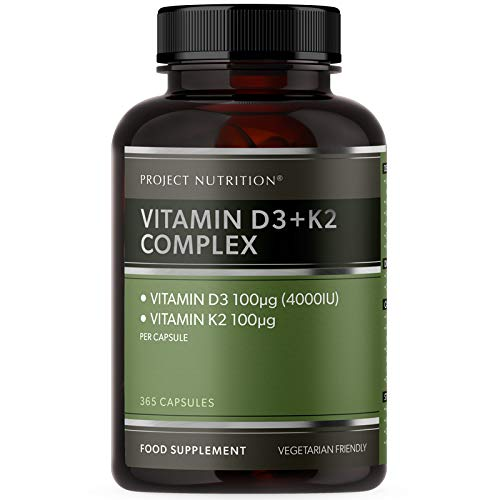 4000IU Vitamin D3 K2 High Strength - 365 Vitamin D Tablets Capsules - 12 Months Supply - 4000 IU Vitamin D3 and 100mcg Vitamin K2 MK7 - for Bone & Immune Support