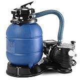 Tangkula Bomba de Filtro de Arena de 33cm 2450GPH con Manómetro 10000GAL para Piscina Jardín (Azul Oscuro)