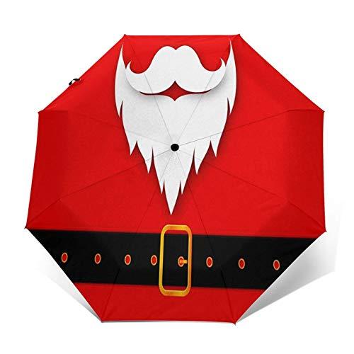 Regenschirm Taschenschirm Kompakter Falt-Regenschirm, Winddichter, Auf-Zu-Automatik, Verstärktes Dach, Ergonomischer Griff, Schirm-Tasche, Frohe Weihnachten Weihnachtsmann 1