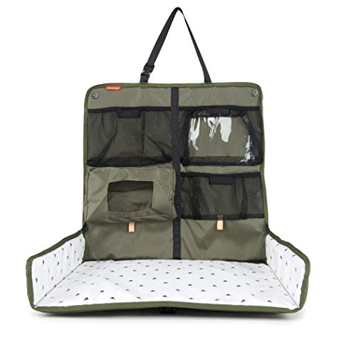 Beanko Baby |Diaper Changing Station for Your Car | Portable, Waterproof, Detachable, Toy Loops, 4 Pockets, Wet Wipes Holder, Tummy Time Mat, Kick Mat, Tablet Holder | Olive Green with Triangles