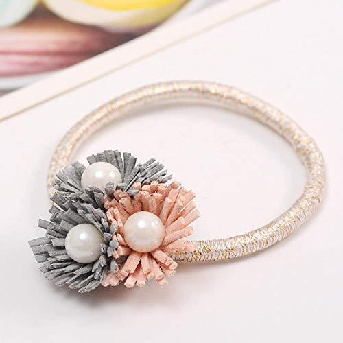 Große Blume Haar Ring Haar Seil Kristall süße Perle Perle Kopf Blume Krawatte Kopf Seil Schmuck, kleine Zou Ju hellgrau