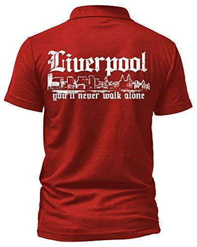 Liverpool Skyline Poloshirt | Stadt Sport Fussball Trikot Ultras | M1 (S, Rot)
