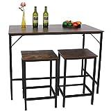 Mesa de bar con 2 sillas, mesa de bar de 3 piezas, mesa de comedor de madera, juego de taburetes, estable y duradero