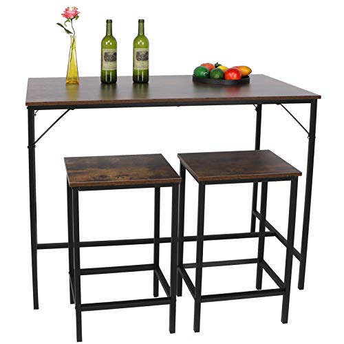 Table Chair Set,Bar Table Set with 2Bar Stools Industrial Breakfast Bar Table Kitchen Pub Table and 2Bar Stools Home Bar Set Dining Table and Chairs Wood Tabletop with Metal Frame for Bar Dining Room