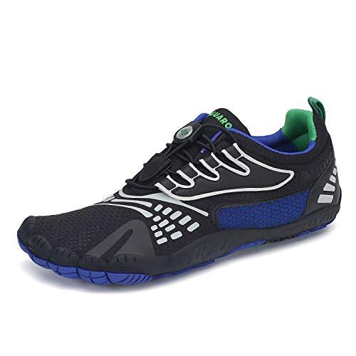 SAGUARO Mens Womens Barefoot Trail Running Shoes Zero Drop Gym Walking Beach Hiking Aqua Sports Pool Surf Quick Dry Water Shoe Blue 12.5 Women/10.5 Men