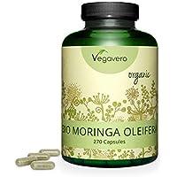 BIO Moringa Oleifera Vegavero®   Ahora Dosis Diaria Mayor: 1800 mg   270 CÁPSULAS   Superfood: Proteínas, Vitaminas, Minerales y Omega 3   Antioxidante   SIN ADITIVOS   Vegano