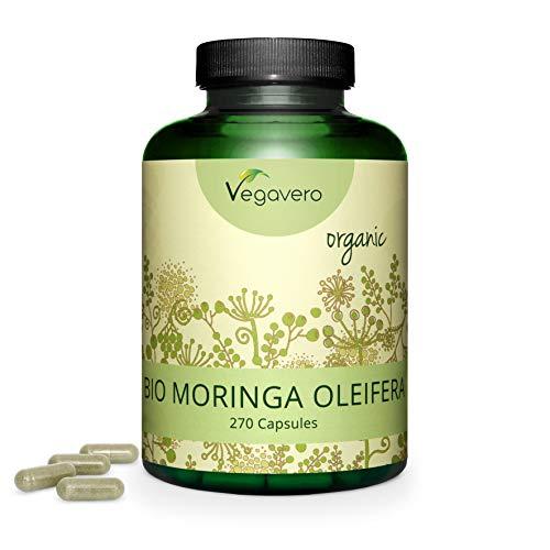 MORINGA OLEIFERA capsule Vegavero® | 100% BIO | 600 mg | 270 capsule | Fonte naturale di proteine, vitamine e minerali | Vegan