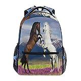 Mochila de montaña con diseño de caballo de flores, mochila para colegio, bolsa de hombro