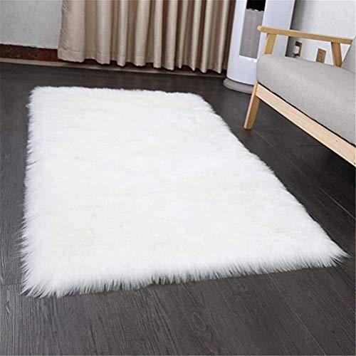 HEQUN Faux Lammfell Schaffell Teppich, Kunstfell Dekofell Lammfellimitat Teppich Longhair Fell Nachahmung Wolle Bettvorleger Sofa Matte (Weiß, 180 X 80 cm)