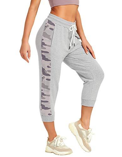 SPECIALMAGIC Femme Pantalon de Sport 3/4 Pantacourt Jogging Décontracté Loose Fit Cordon De Serrage Capri avec Poches Latérales Noir XL