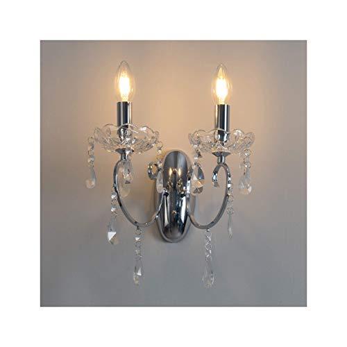 KOSILUM - Applique 2 bras cristal baroque pampilles argent - Pavia - Lumière Blanc Chaud Eclairage Salon Chambre Cuisine Couloir - 2 x 40W - - E14 - IP20