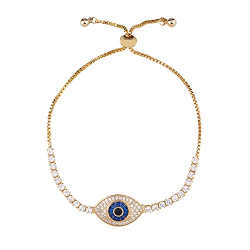 Nobrand Regenbogen Evil Eye Armband Frau Zirkonia Blue Eye Armband 24 Karat Gold Türkisch Augen Schmuck Tennis Pulseira Olho Grego