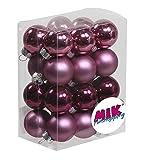MIK Funshopping Bolas de Navidad de cristal (diámetro: 25 mm, 24 unidades), color morado...