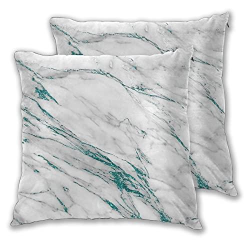 Juego de 2 fundas de almohada decorativas con diseño de mármol, color gris, turquesa, metálico y purpurina en dos lados, funda de cojín impresa, para sofá, cama, sala de estar, 45,7 x 45,7 cm