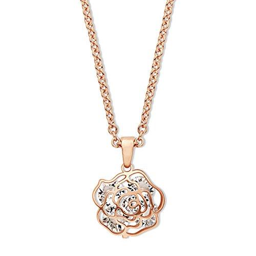 Noelani Damen-Kette mit Anhänger Rose Blume Blüte rosévergoldet veredelt mit Swarovski Kristallen 42+3 cm