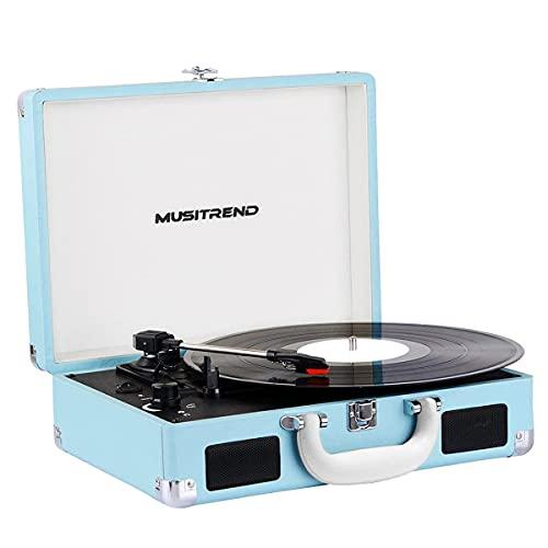 Tocadiscos, Reproductor de Discos de Vinilo Vintage, Tocadiscos Bluetooth Portátil con 2 Altavoces Estéreo Integrados, Soporte de 33/45/78 RPM, Grabación en PC, Azul