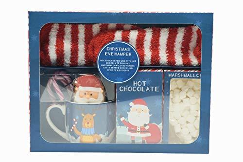 Heiligabendkorb - Heiligabend-Set mit heißer Schokolade, enthält Keramikbecher, heiße Schokoladenmischung, Mini-Marshmallows, Zuckerstangen, Weihnachtskekse und ein Paar Kindersocken