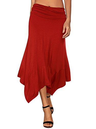 DJT Damen Elastische Taille Einfarbig Ausgestelltes A-Linie Faltenrock Rot L