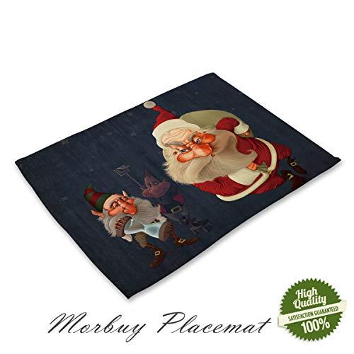 Morbuy Navidad Mantel Individual de Lino y Algodón, Santa Claus Impresión Lavables Fácil de Limpiar Juego de...