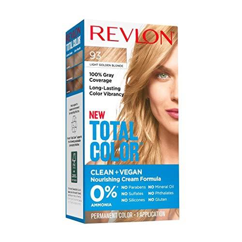 Revlon Total Color Permanent Hair Color, Clean and Vegan, 100% Gray Coverage Hair Dye, 93 Light Golden Blonde, 3.5 oz