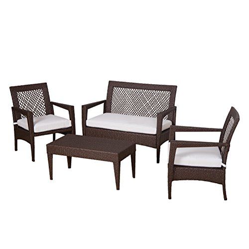 Auro Brisbane Outdoor Furniture | 4 Piece Rattan Patio Set | All-Weather Brown Wicker Bistro Set with 2 Water Resistant Olefin Cushioned Chairs & End Table | Porch, Backyard, Pool, Garden (Off White)