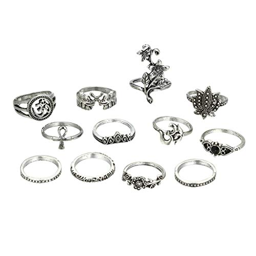 Silver Vintage Rings, 12 Pcs Boho Crystal Stacking Joint Bnad for Girls Womens