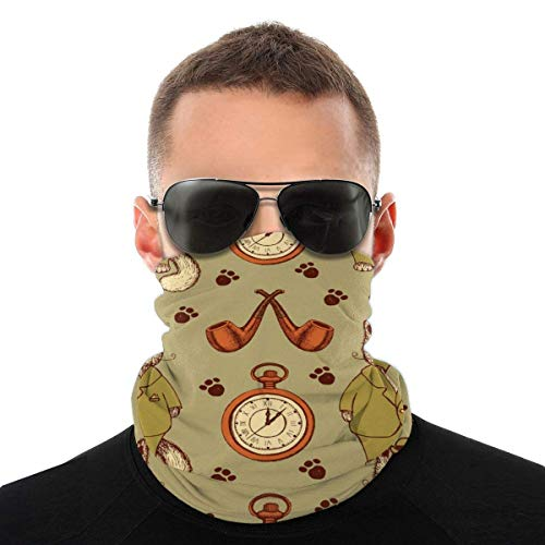 OUY Boceto gato en traje tubo y reloj transpirable protector de cuello protector de pierna máscara facial bufanda turbante pasamontañas sombrero bufanda hombres y mujeres máscara facial