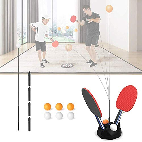 Great Price! Ping Pong Table Tennis Trainer Rebound Ball with Elastic Shaft Training Set for Kids Ad...