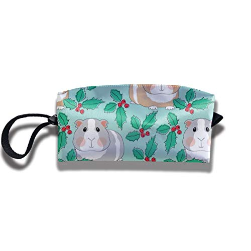 Bbhappiness Pouch Handbag Cosmetics Bag Case Purse Travel & Home Portable Make-up Receive Bag Guinea Pigs With Holly On Teal