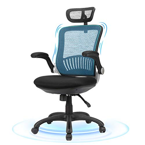 Ergonomic Office Chair - Komene Mesh Desk Chair with Adjustable Backrest and Flip up Armrest, Rolling Office Chair with Headrest, Lumbar Support, Executive Task Chair