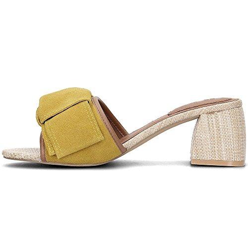 GIOSEPPO Mules Tacón Lazo Mostaza - Color - Mostaza, Talla Zapatos Mujer - 36