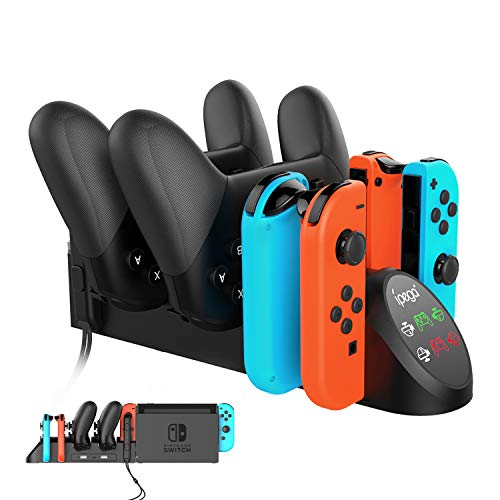 FastSnail Charging Dock for Nintendo Switch Pro Controllers and Joy Cons, Multifunction Charger Stand for Switch Controllers with 2 USB 2.0 Plug and 2 USB 2.0 Ports (Black)