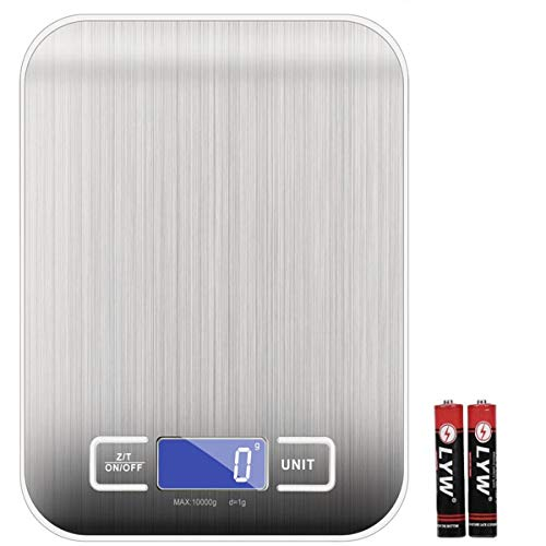 iKINLO Digitalwaage 1g bis 10Kg Küchenwaage Touch Control Edelstahl Professionelle Waage Elektronische Waage inkl. Batterien, extragroße Wiegefläche, mit LCD-Anzeige