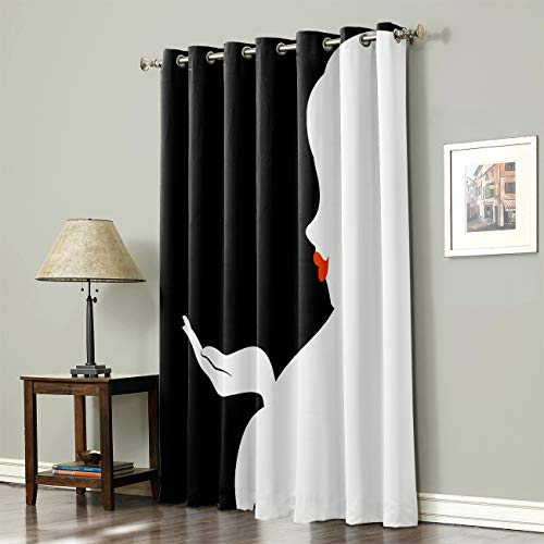 SODIKA Grommet Top Curtains for Living Room Bedroom Window Treatment Curtain Draperies - Lady Silhouette with Red Lip Black and White 52 x 63 inch,1 Panel