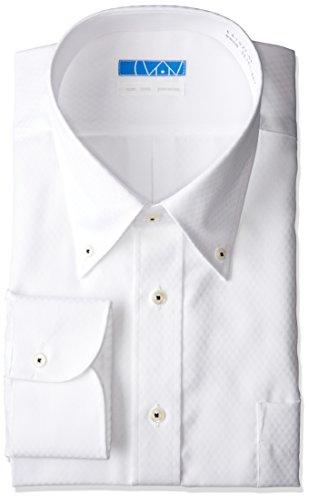 [ドレスコード101] ノーアイロン 長袖ワイシャツ 洗って干してそのまま着る 綿100% の優しい着心地 シンプルがかっこいい シーンを選ばないデザイン 超形態安定 EATO22 メンズ 04 白 チェックドビー ボタンダウン 首