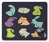 Figuras de conejo en diferentes posiciones sobre un fondo oscuro, multicolor, 18 x 22 cm...