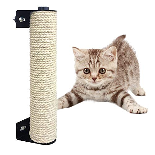 YOUDirect Cat Scratching Post, Wall Mounted Cat Scratcher Claws Grinding Pole for Cat Cage, Natural Sisal Scratching Post for Small Cats Kittens (3.5x13.8 inch)