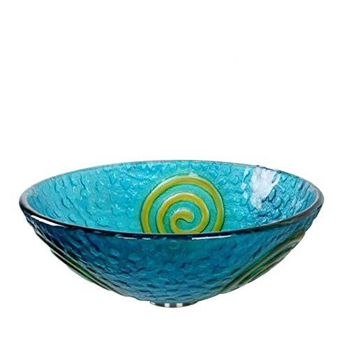 ZSDGY Bad Tempered Glas Runde Kunst Wash Basin/mediterranen Stil Waschtisch Waschbecken Tisch Waschbecken (Single-Becken)