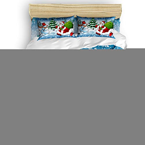 Libaoge 4 Pieces Duvet Cover Bedding Set Full Include 1 Duvet Cover 1 Flat Sheet 2 Pillowcases Ultra Soft Cartoon Snowy Santa Claus and Snowman Pattern Bedding Collections