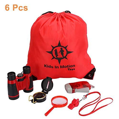 VGEBY1 6Pcs Fernglas Set, Spielzeug Fernglas Erkunden Set Bildungsgeschenk mit Handkurbel Taschenlampe, Kompass, Lupe, Kordelzug Rucksack, Pfeife für Kinder Kinder(Rot)