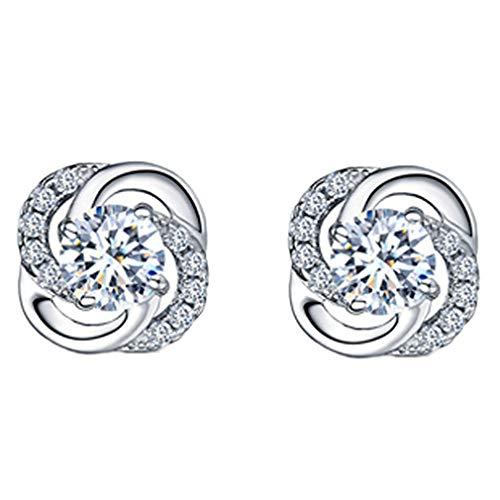 Weiy Square Cubic Zirconia Stud Earrings Celtic Knot Ear Studs imitation Diamond Ear Cartilage Helix Studs Earrings Auricle Piercings