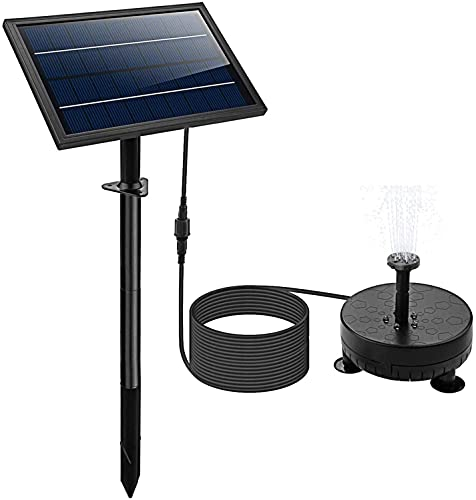 [Night Work] Solar Fountain Pump with Night Work&6 Nozzle,2400 MAh Fountains Pump with Colored Led Lights for Bird Bath, Outdoors,Ponds,Swimming Pools,Fish Tanks,Gardens (Without remote control)