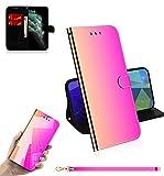Sunrive Hülle Für Oukitel U7 Plus, Magnetisch Schaltfläche Ledertasche Spiegel Schutzhülle Etui Leder Case Cover Handyhülle Tasche Schalen Lederhülle MEHRWEG(Farbverlauf)