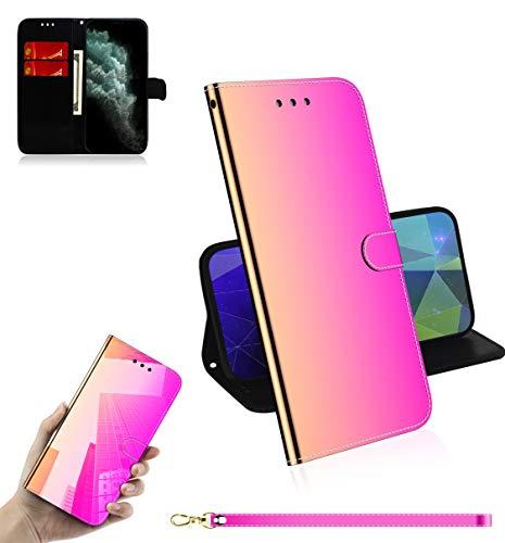 Sunrive Hülle Für OUKITEL C8, Magnetisch Schaltfläche Ledertasche Spiegel Schutzhülle Etui Leder Hülle Cover Handyhülle Tasche Schalen Lederhülle MEHRWEG(Farbverlauf)