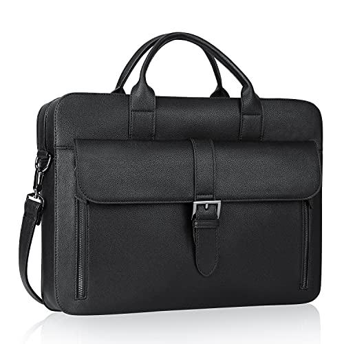 Estarer Men's PU Leather Slim Briefcase 15.6' Laptop Satchel Large Shoulder...