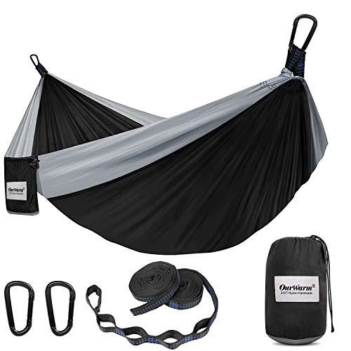 OurWarm Amaca da campeggio doppia e singola, portata fino a 600 kg, con 2 cinghie per albero, in nylon, con borsa per esterni, giardino, spiaggia, 118 x 79 cm