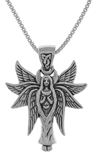 Jewelry Trends Sterling Silver Celtic Angel Fairy with Wings Pendant Necklace 18'